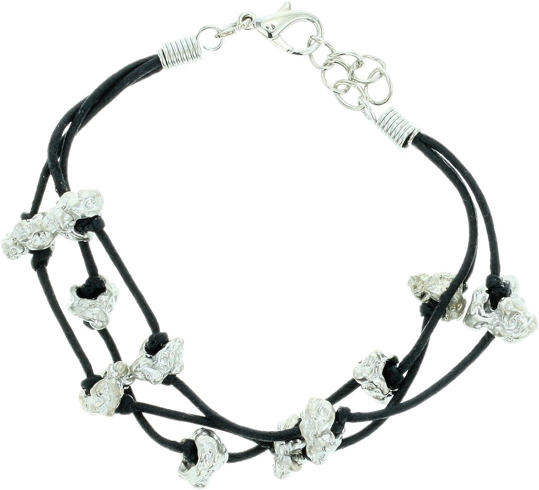 Pulseras de Cadena de Cuero sintético Negro - Pulseras de Hilo múltiples con Diamantes de imitación - Pulseras Ajustables