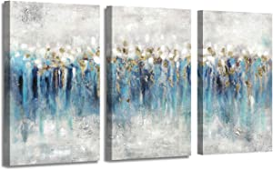 """Canvas Wall Art Abstract Painting: Hand Painted Heavy Textured Blue & Gray with Gold Foils Embellishment Picture Artwork for Living Room (26"""" x 16'' x 3 Panels)"""