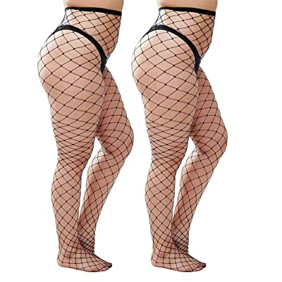 CURRMIEGO Womem's Sexy Black Fishnet Tights Plus Size Net Pantyhose Stockings: Clothing