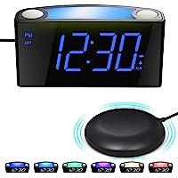 Väckarklocka med Sängskakare, Bordsklocka med Stor LED-Skärm och Dimmer, nattlampa, USB-laddare, Big Snooze-Knapp…