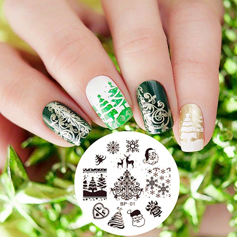 Malloom® navidad imagen DIY Clavo Arte de uñas sello estampación ...
