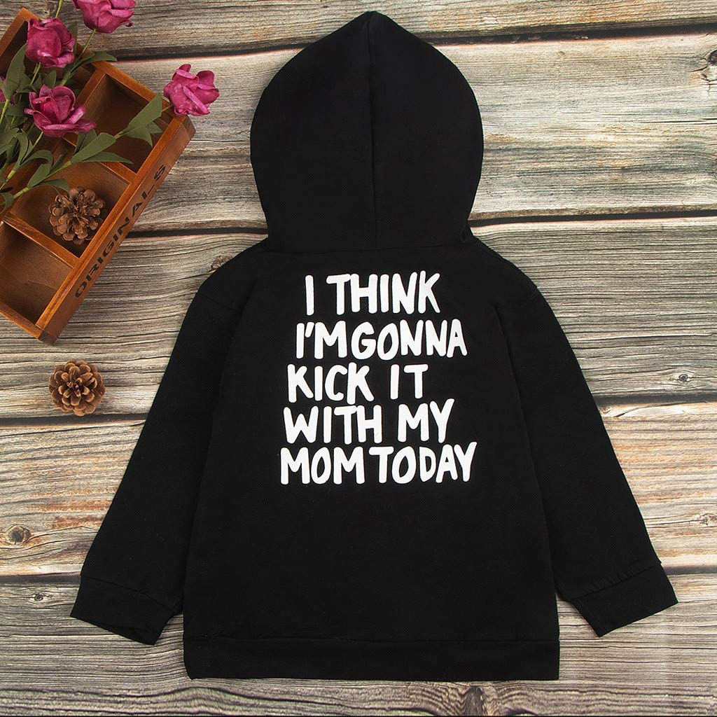 Y56 12M-6Y Toddler Kids Baby Boys Hooded Sweatshirts Infant Kick It with My Mom Letter Blouse Hoodies Tops Outwear