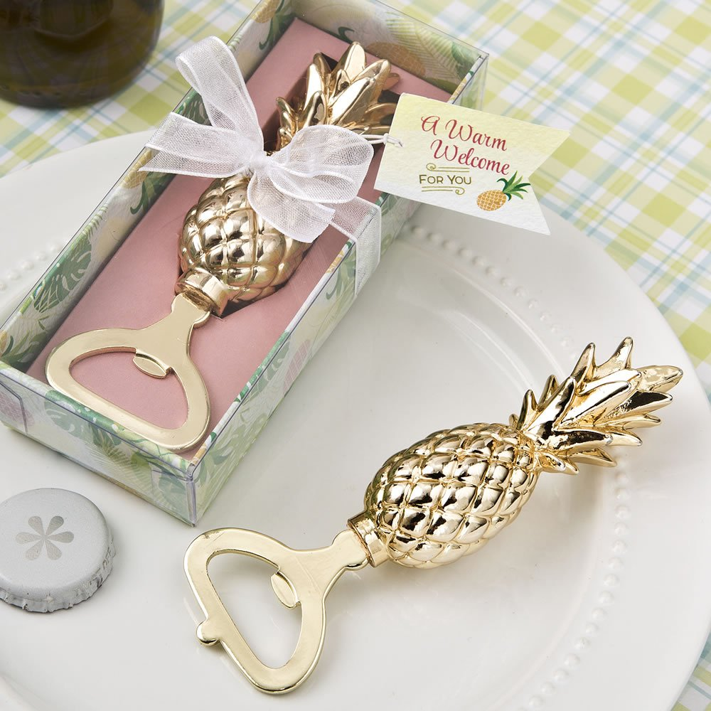 60 Warm Welcome Gold Pineapple Themed Bottle Openers by Fashioncraft