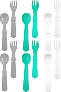 product image for RE-PLAY Made in The USA 12pk Fork and Spoon Utensil Set for Easy Baby, Toddler, and Child Feeding in Aqua, White and Grey | Made from Eco Friendly Heavyweight Recycled Milk Jugs | (Modern Aqua)
