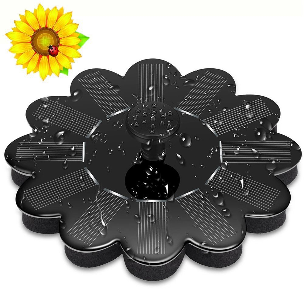 Handfly Solar Bird Bath Fountain Pump Solar Fountain Water Pumps Panel Kit Outdoor Birdbath Watering Submersible Pump for Garden and Patio(7V/1.4W,4 Water Flows pattern,Lotus flower shape)