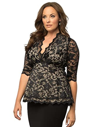 bc0ebd74c8765 Kiyonna Women s Plus Size Linden Lace Top at Amazon Women s Clothing ...