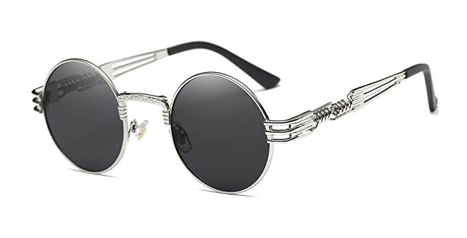 ad6d86faaa6bf Image Unavailable. Image not available for. Color  GAMT Round Steampunk  Sunglasses Vintage Metal Frame Glasses for Men And Women 42mm Mirrored Lens  Silver
