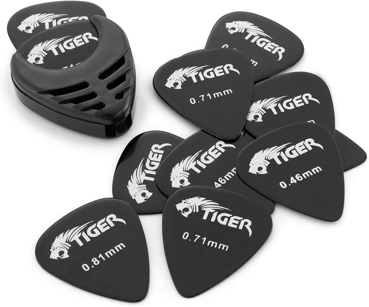 Tiger GAC56-BK - Set de 12 púas para guitarra con soporte