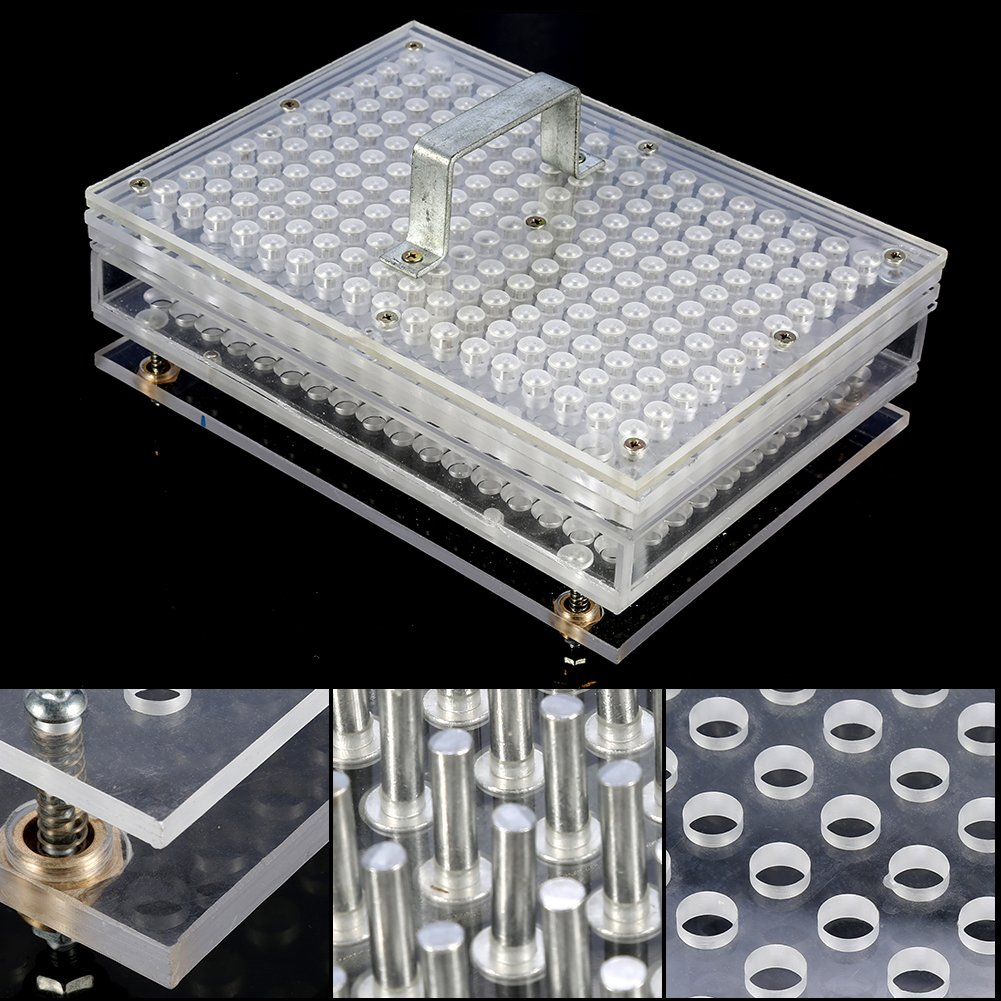 Acrylic Empty Capsule Plates Holder With Spreader, 187 Holes Vitamins Coffee Powder Manual Filling Capsules Manual Machine Tool (00#) by ZJchao (Image #4)