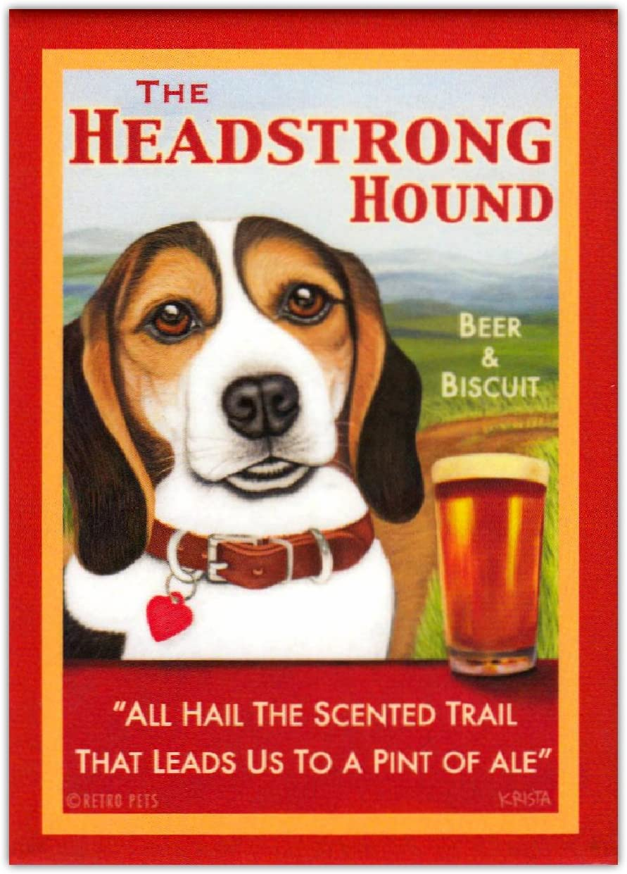 Retro Dogs Refrigerator Magnets - Beagle Ale Beer & Biscuit - Advertising Art
