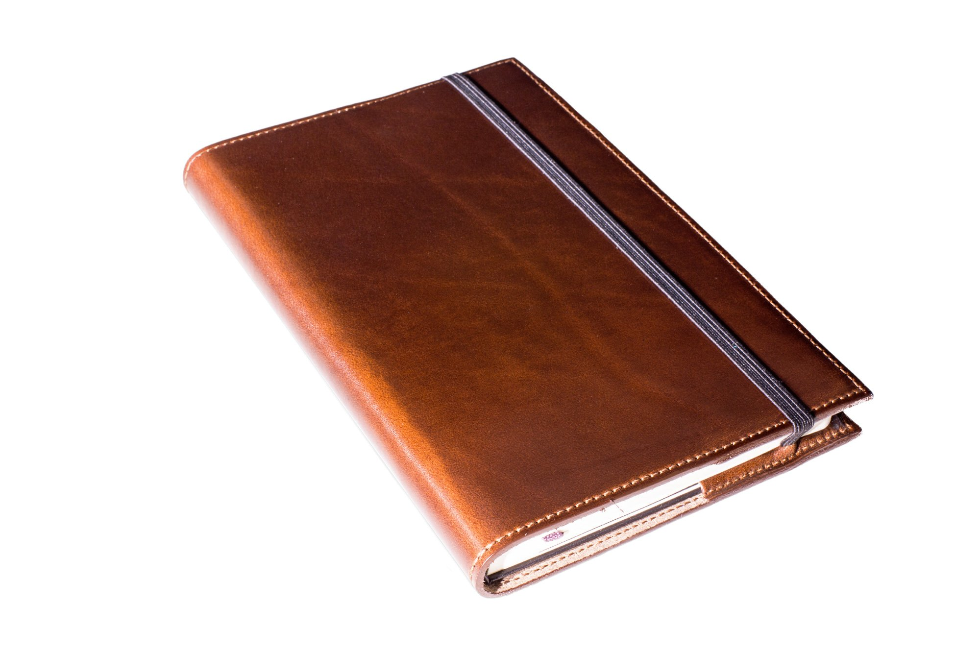 Vintage Leather Journal Moleskine Classic Large 5''x8.25'' with Lined Pages Refillable Writing Notebook in Full-Grain Horween Leather of Chestnut Color Handmade in USA Gift for Men, Women, Travelers