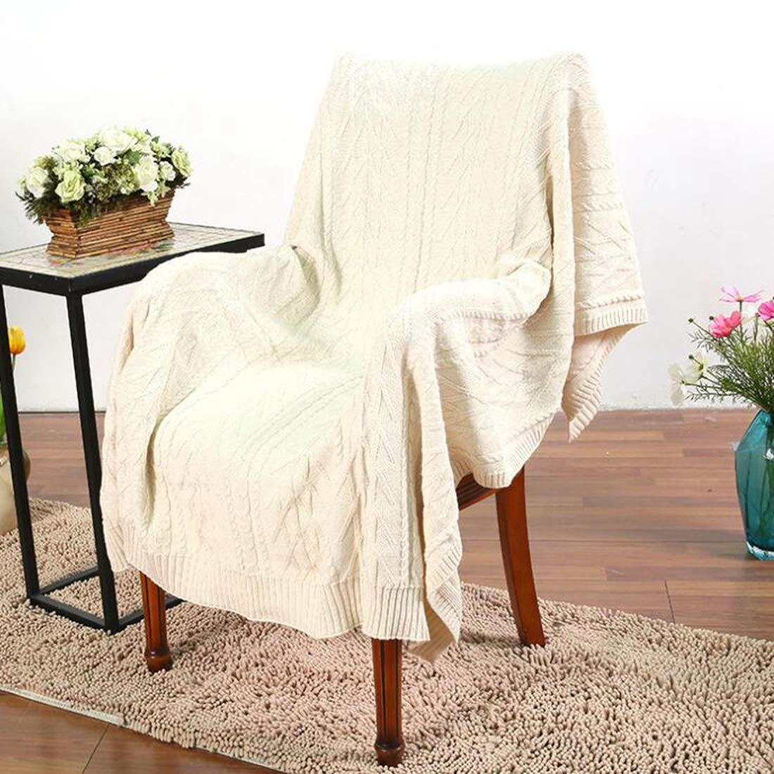 ニットシェパスローブランケットグレーニットシェルパの素朴な家のインテリア寝具ブランケット (Color : Beige, サイズ : 71