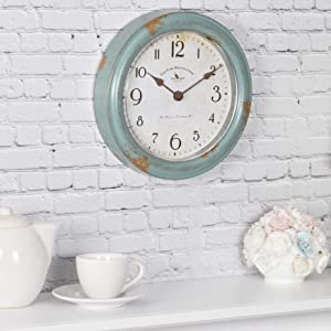 "FirsTime & Co. Patina Wall Clock, 8.5"", Aged Teal"