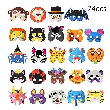 üppiges Design Bestbewertet echt heiß-verkaufender Fachmann 24 stücke) OOTSR Tier Schaum Masken, Verschiedene Tiermasken ...