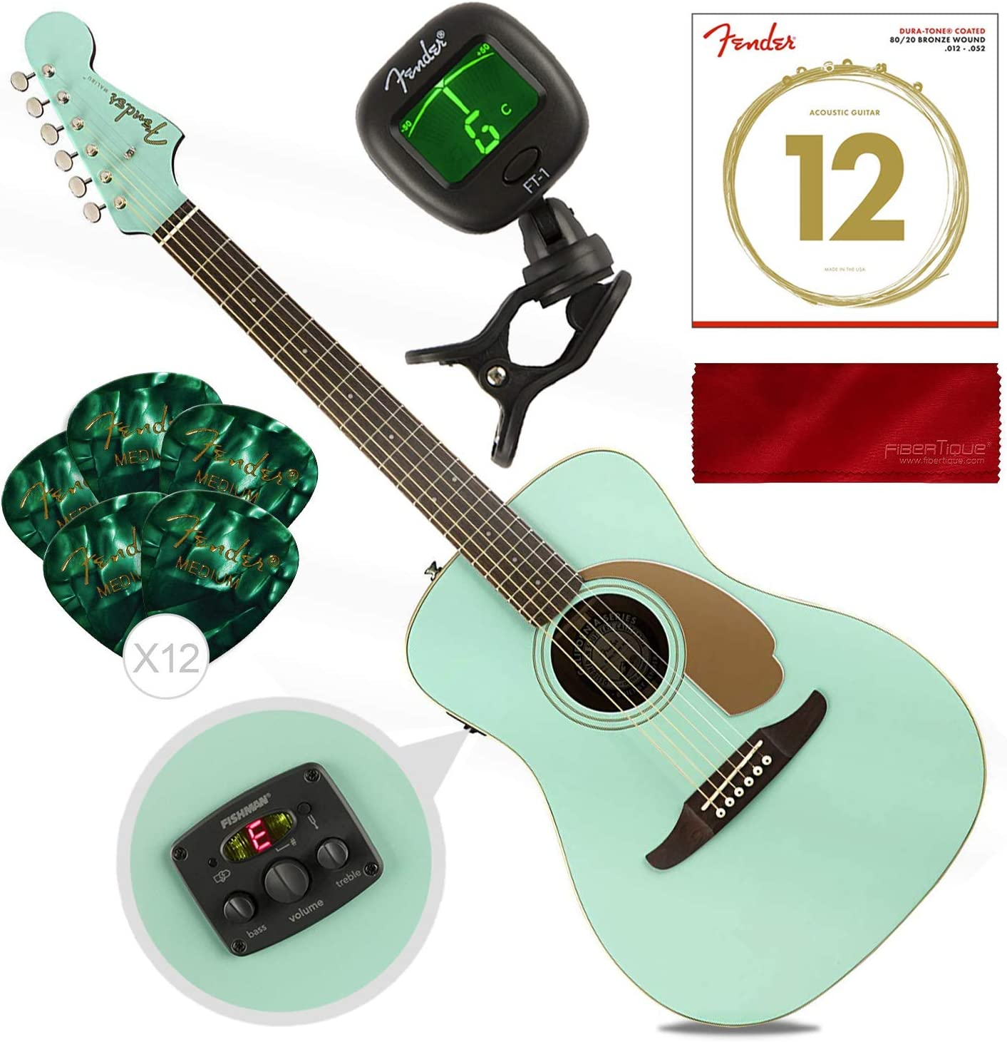Fender Malibu Player California Series Guitarra acústica, Aqua Splash con cuerdas de guitarra, púas, afinador y paquete de accesorios de tela: Amazon.es: Instrumentos musicales