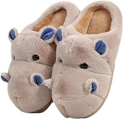 LANFIRE Zapatillas de algodón para niños y Adultos Zapatillas de casa Hippo Zapatillas de Felpa Zapatillas de Animales