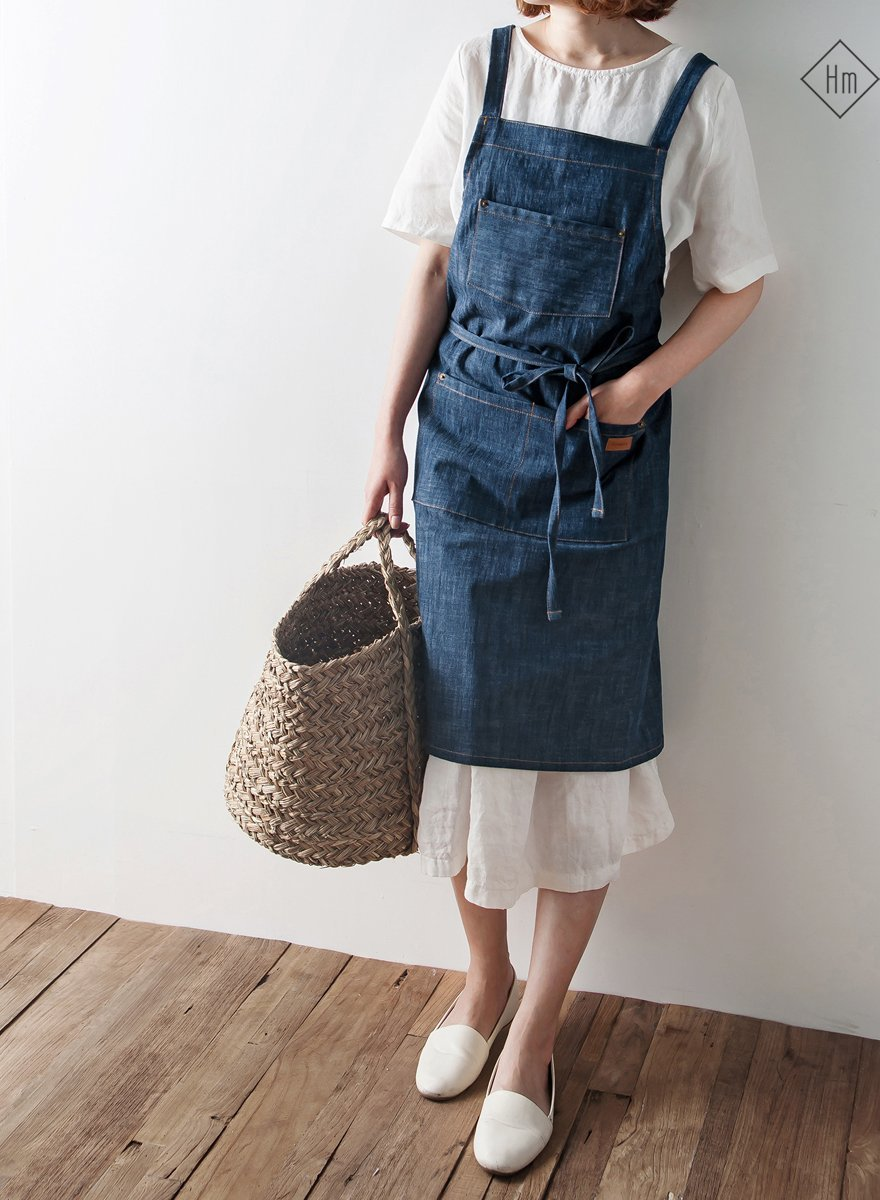 French APRON [COTTON CLEVER DENIM ] Premium Gift Chef Works Handmade Apron Japanese style Cross back with pockets Shape (DEEP BLUE) by cozymomdeco