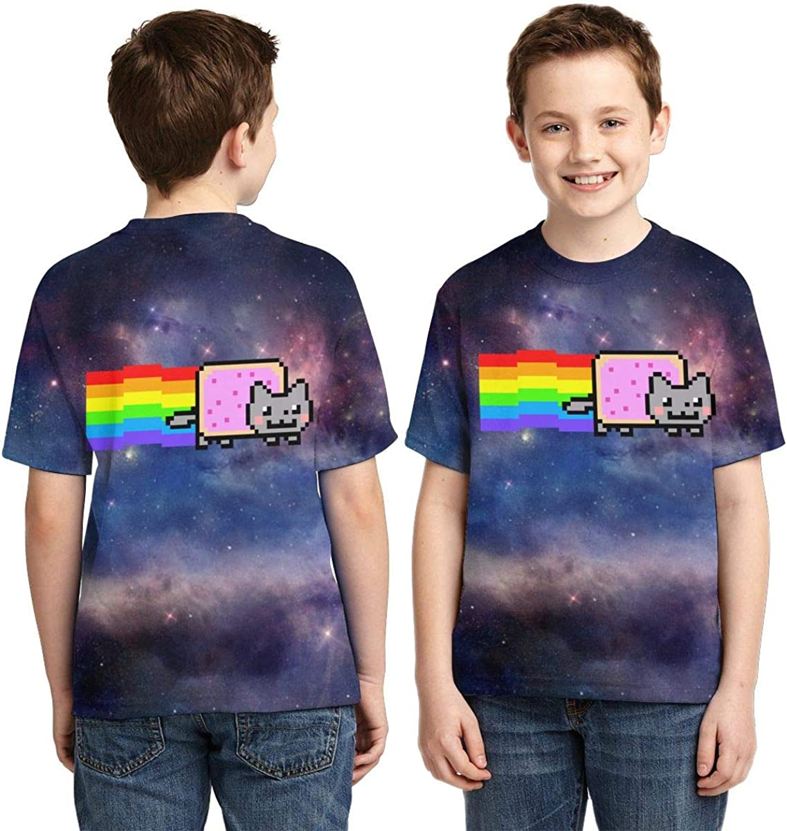 Traci StoneN Kid//Youth Nyan Cat T-Shirts 3D Print Short Sleeve Graphics Tees for Boys