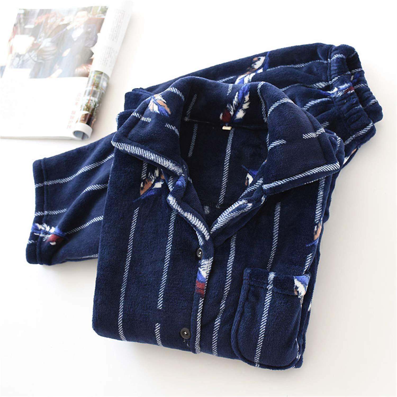Nerefy Women Men Flannel Pajama Set 2Pcs Sleepwear Couples Coral Fleece Homewear