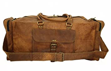 af974d27bb84 Image Unavailable. Image not available for. Color  Spot on New Large Men s  Leather Vintage Duffle Luggage Weekend Gym Overnight Travel Bag ...