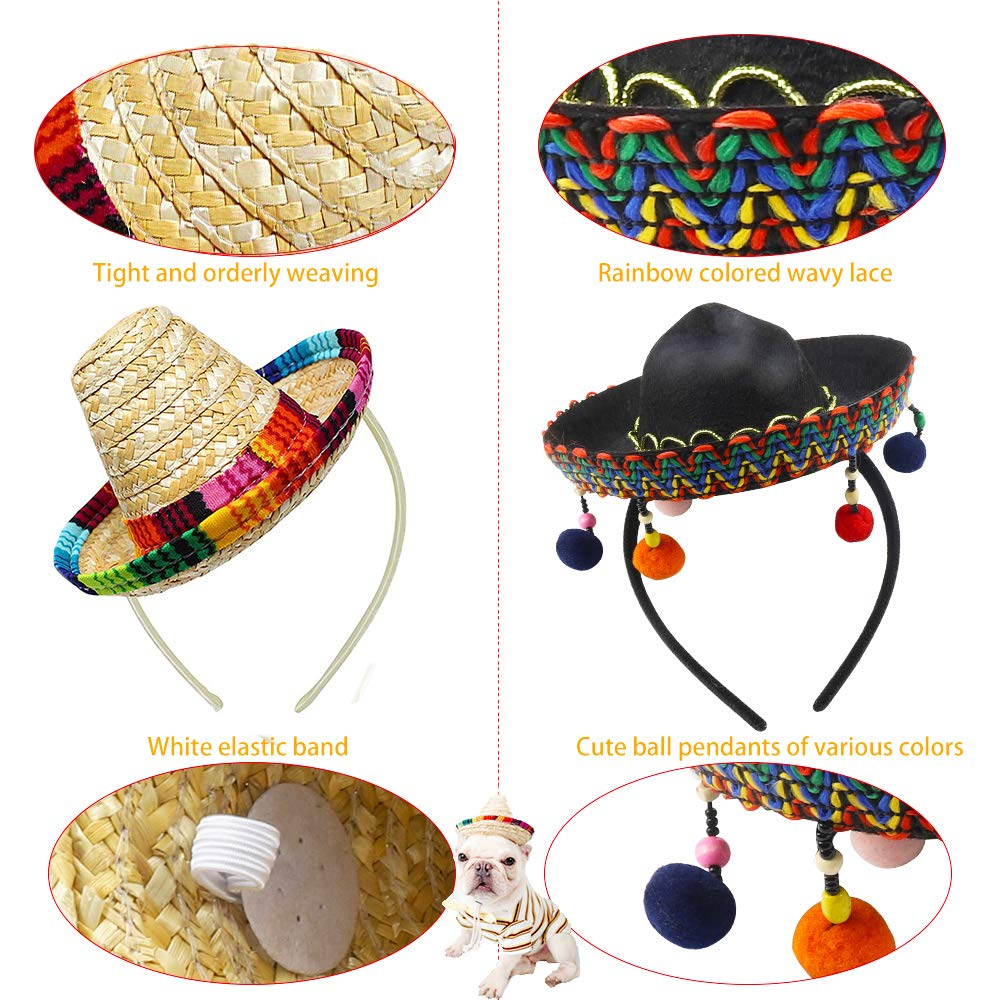 Cinco De Mayo 4 Pcs Small Fiesta Sequined Fabric and Straw Sombrero Headbands Party Costume for Mexican Theme Party,Fun Fiesta Taco Party Supplies, Luau Party Photo Props, Dia De Muertos, Coco Birthday Party Decor, Carnival Party Supplies by QIQU (Image #3)