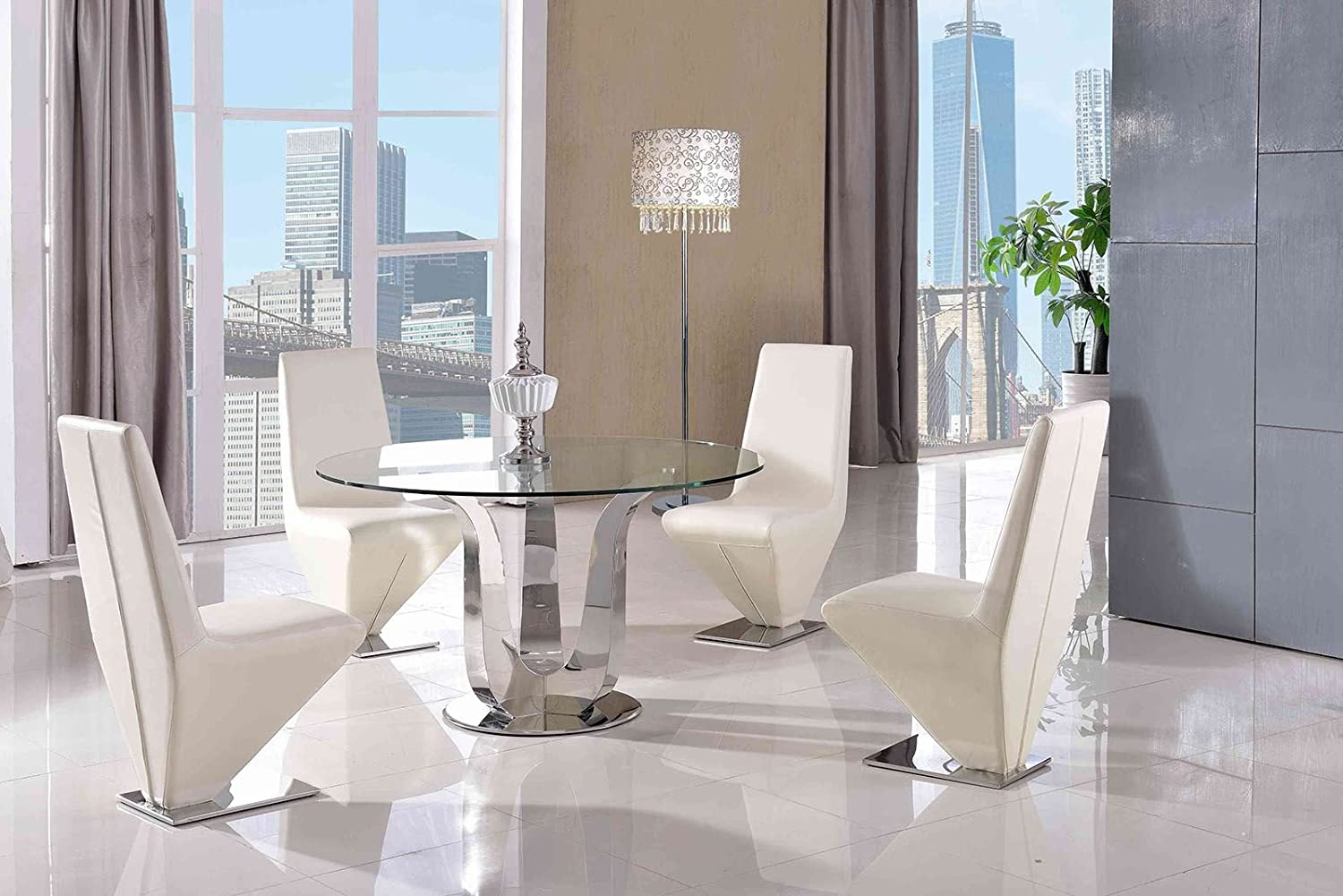 Modern furniture direct naples 130cm round steel glass dining table 4 faux leather ivory chairs 130cm diameter tempered glass steel fast