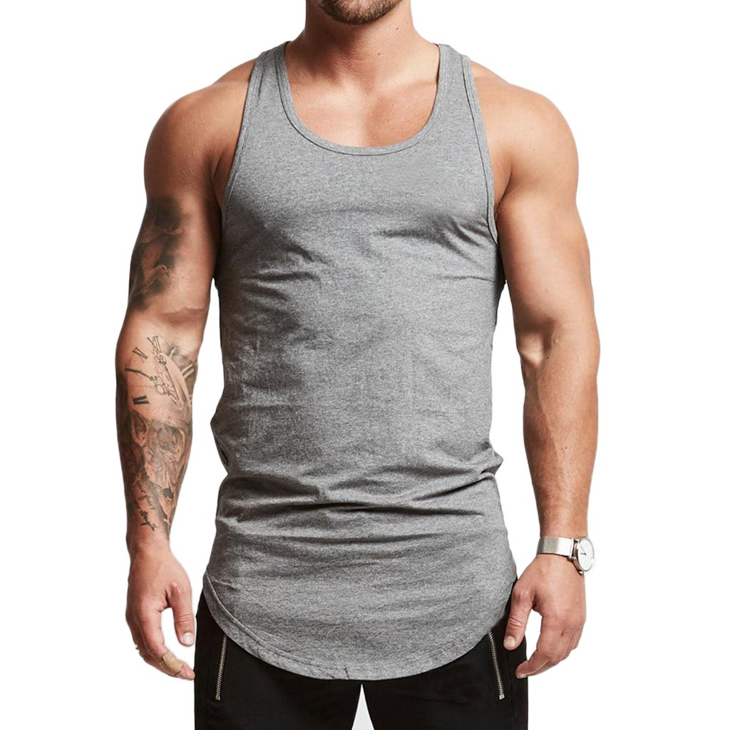 f739a5498 Magiftbox Mens Essential Longline Workout Stringer Cotton Tank Tops Gym  Shirts Sports Vest T04_Light-Gray_US