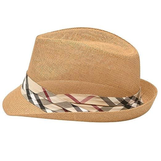 2d87739d6ffcc Image Unavailable. Image not available for. Color  Sophias Style Unisex  Junior Adult Brown Plaid Grosgrain Ribbon Fedora Summer Hat