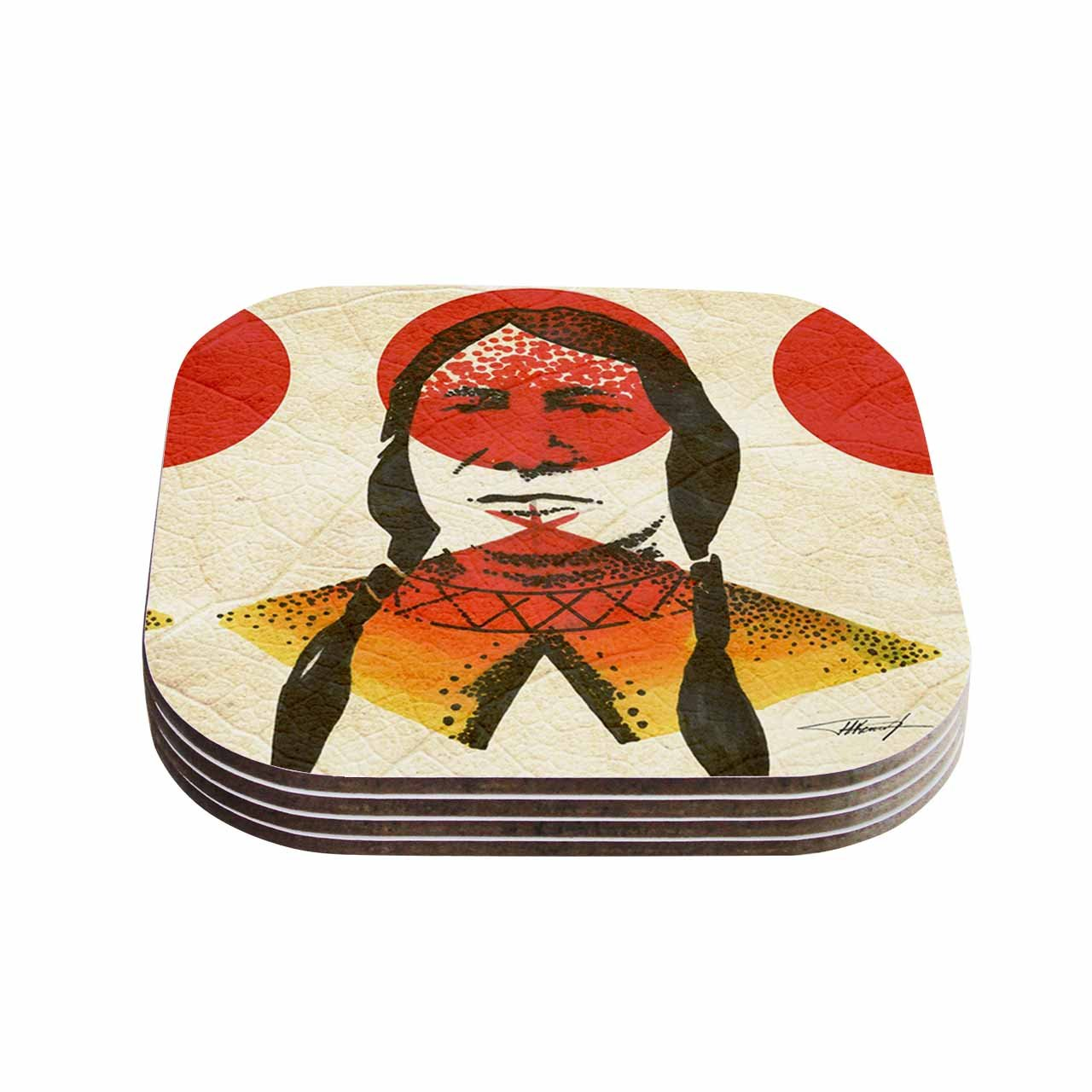 4 x 4 Multicolor KESS InHouse Ivan JohIndian Red Beige Coasters Set of 4