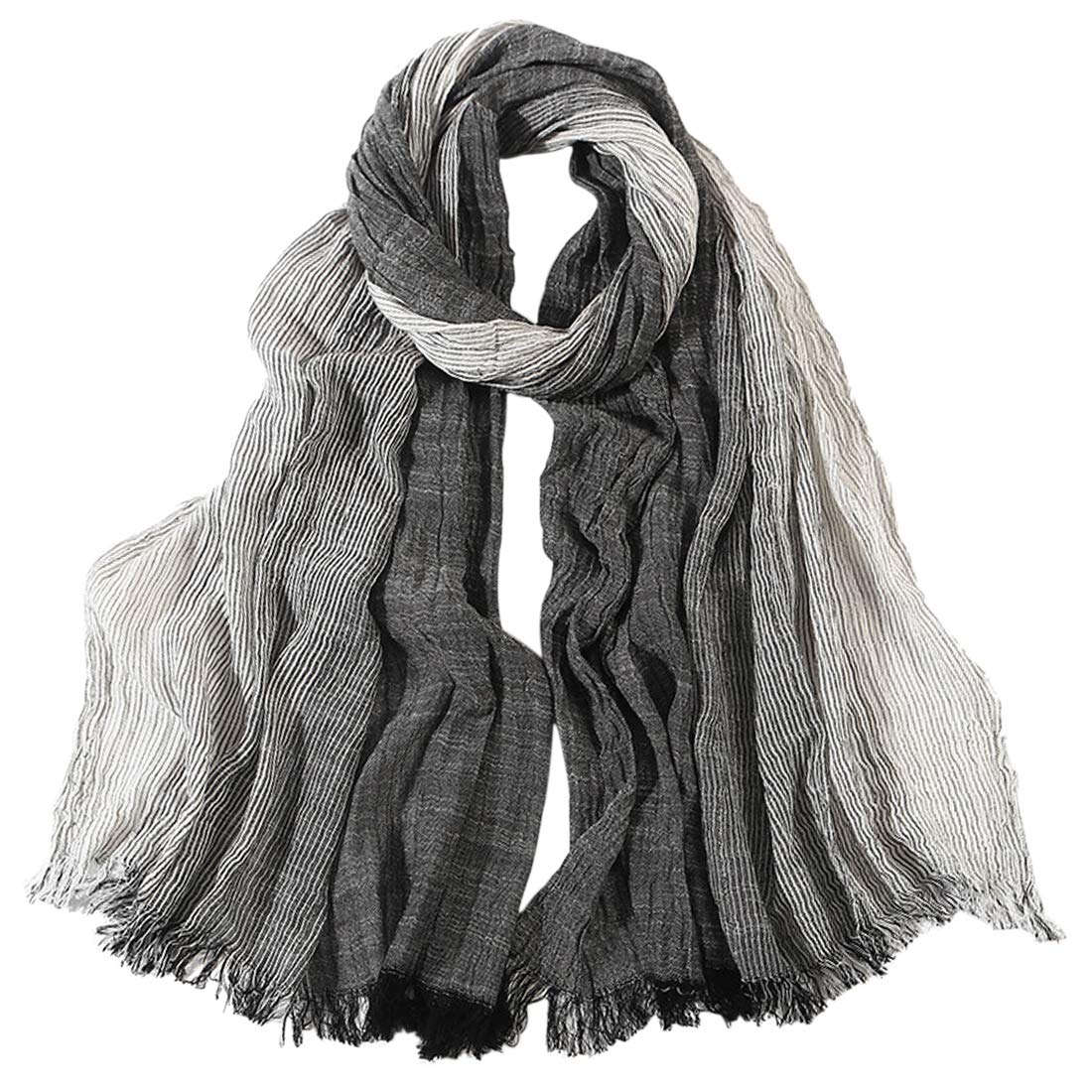 HUAYI Womens//Mens Gradient Color Cotton and Linen Fibe Shawl Scarf