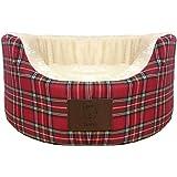 Bunty Heritage Tartan Soft Fur Fleece Dog Bed Washable Pet Basket Mat Cushion - Red - Medium
