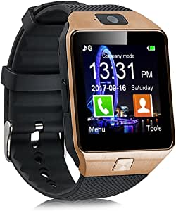 Padgene DZ09 Bluetooth Smartwatch,Touchscreen Wrist Smart Phone Watch Sports Fitness Tracker with SIM SD Card Slot Camera Pedometer Compatible with iOS Android for Kids Men Women