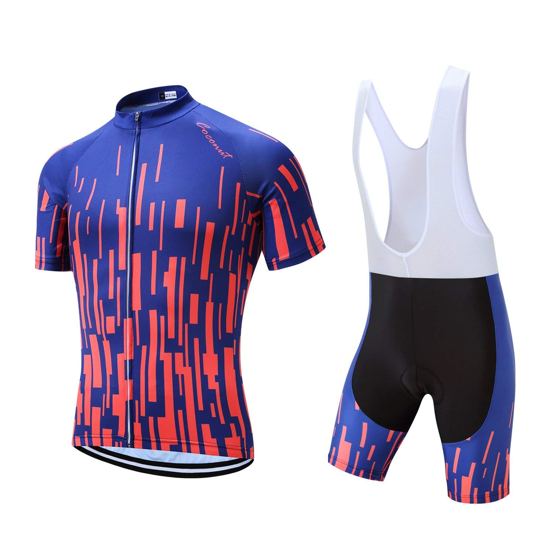 1873ecdcec1 Amazon.com: Men's Cycling Jersey Set Road Bike Jersye Short Sleeves Cycling  Kits + Bib Shorts with 3D Padded: Clothing