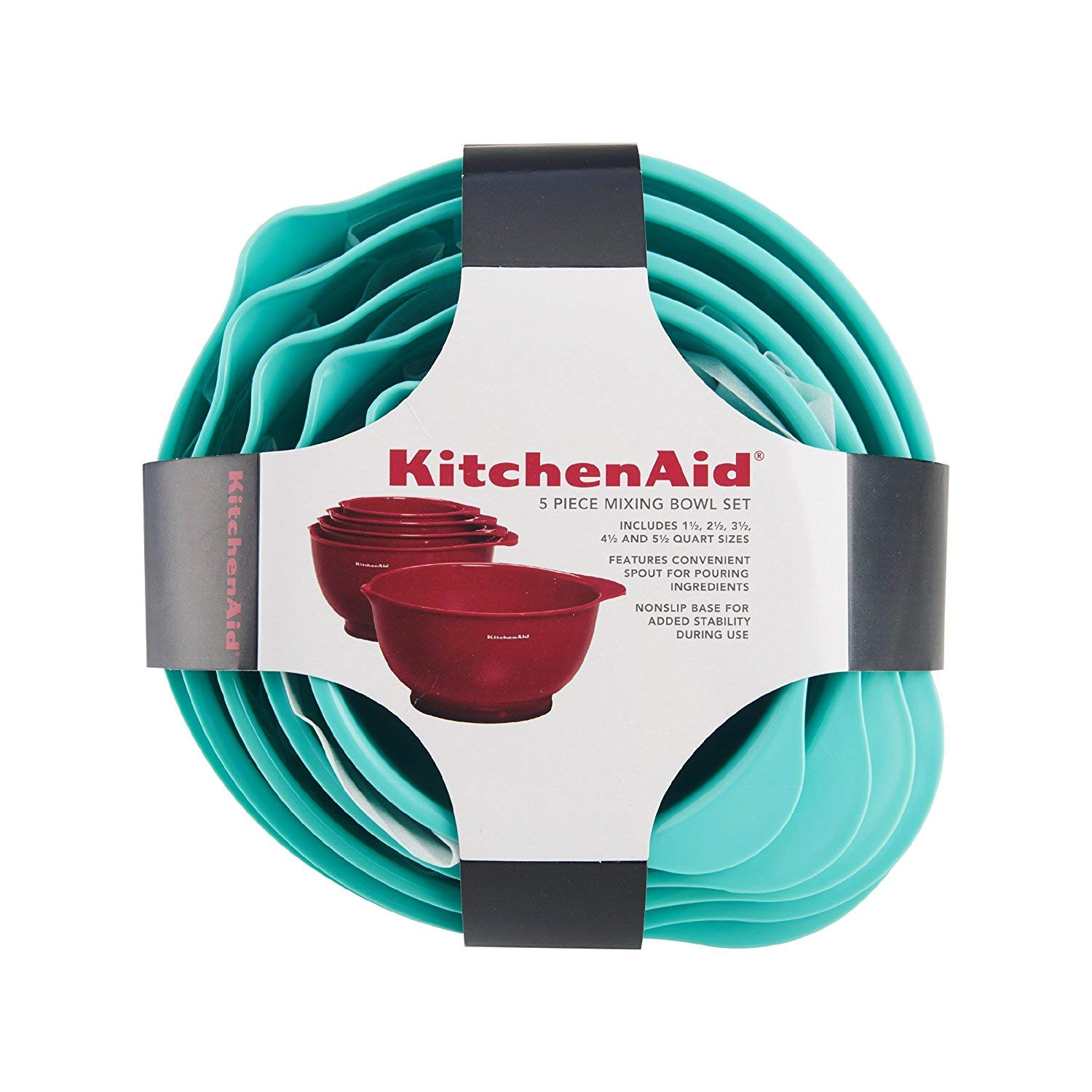 Amazon.com: KitchenAid Mixing Bowls, Set of 5, Aqua Sky: Kitchen ...