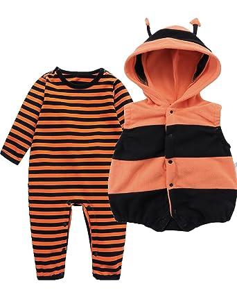 489a269dfeffa Kidsform Ensemble Bébé Animal Barboteuse Costume Déguisement Enfant  Combinaison Pyjama A Orange 6-9 Mois