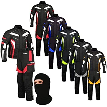 FREE BALACLAVA Full Black Waterproof Motorbike Gears Motorcycle 2 Suit Jacket /& Trouser Cordura Fabric 6 Packs Design Most Popular CE Armour X-Large