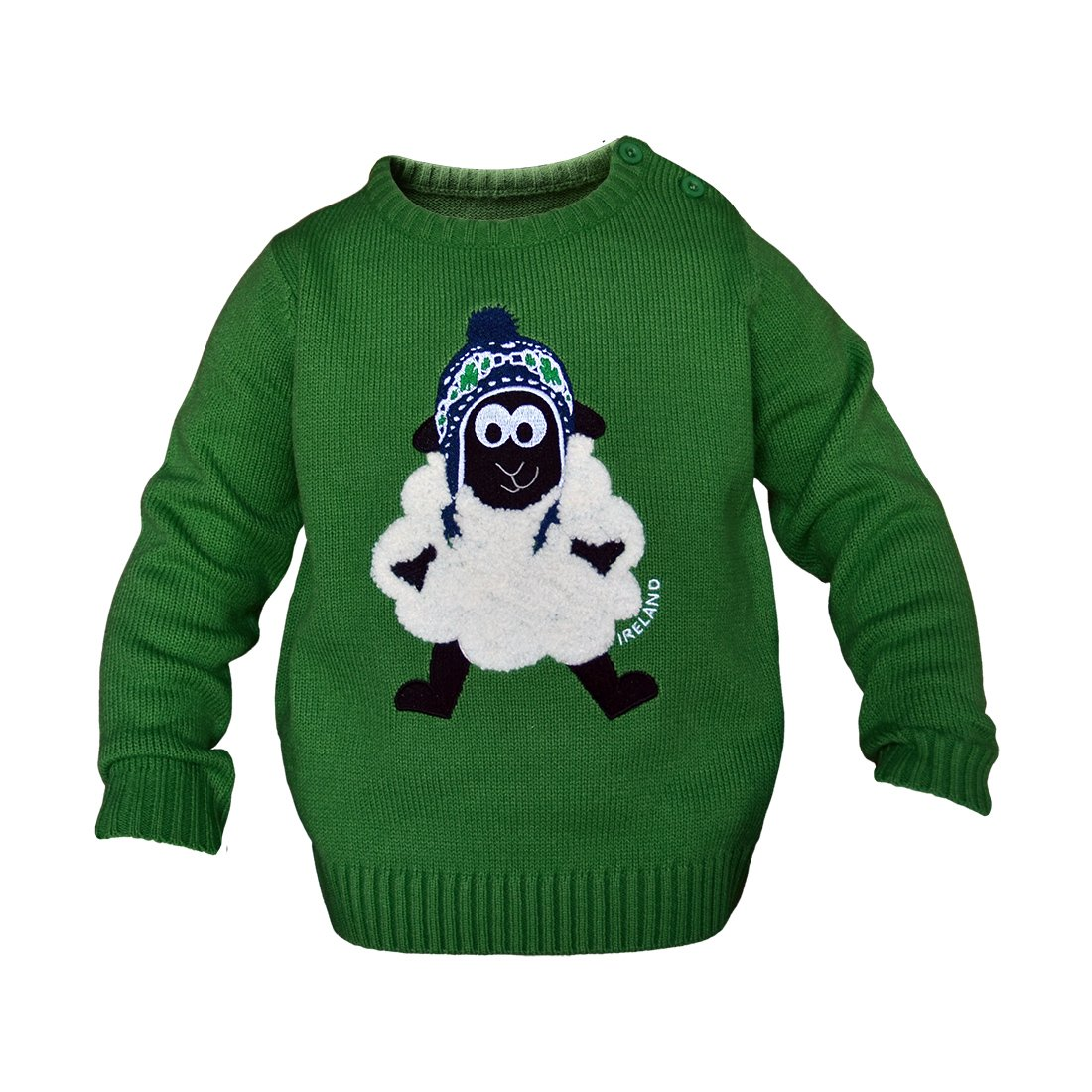 Round Neck Ireland Kids Sweater With Fluffy Sheep, Emerald Green Colour Carrolls Irish Gifts