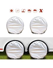 "NEVERLAND Set of 4 Tire Covers, Waterproof UV Sun RV Trailer Tire Protectors, Fit 27"" to 29"" Truck Camper Van Auto Car Tires Diameter"