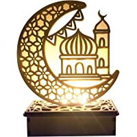 Eid LED Light Wooden Moon Book Light DIY Mubarak Festival Light Lamp Desktop Moon Atmosphere Night Light Muslim Islam…