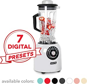 Dash DPB500WH, Sm with Stainless Steel Blades + Digital Display for Coffee Drinks, Frozen Cocktails, Smoothies, Soup, Fondue & More, 64 oz, White