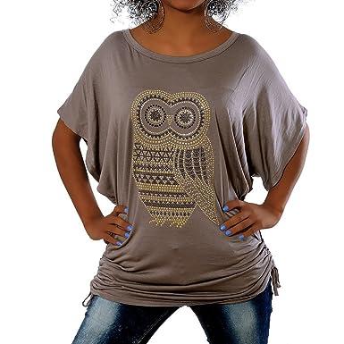 fe4bac0a5b8781 G410 Damen Longshirt Shirt Tunika Bluse Uhu Eule T-Shirt Tank Top  Minikleid