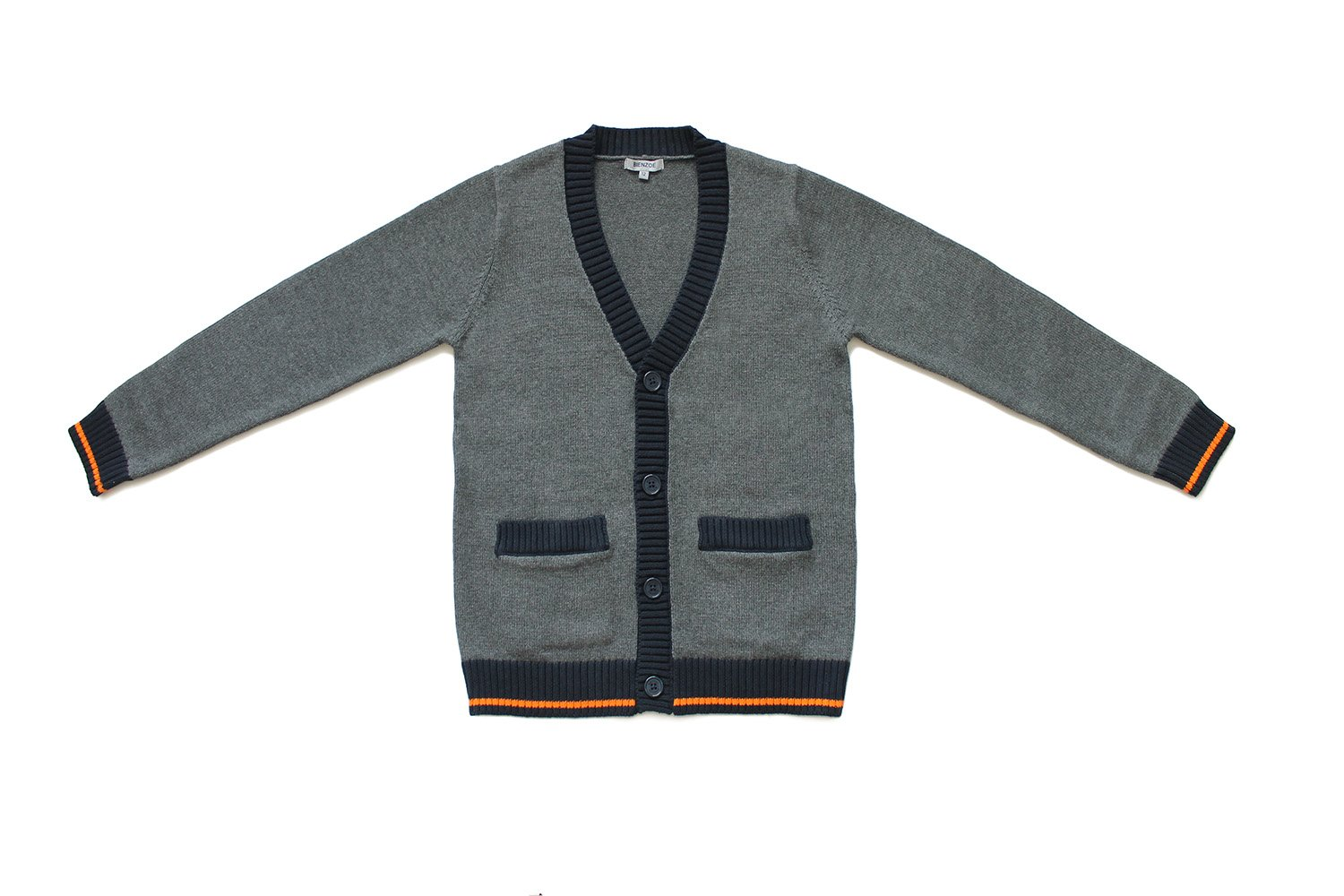 Bienzoe Big Boy's School Uniforms Cotton Antistatic V-neck Cardigan Sweater 12,Dark Grey