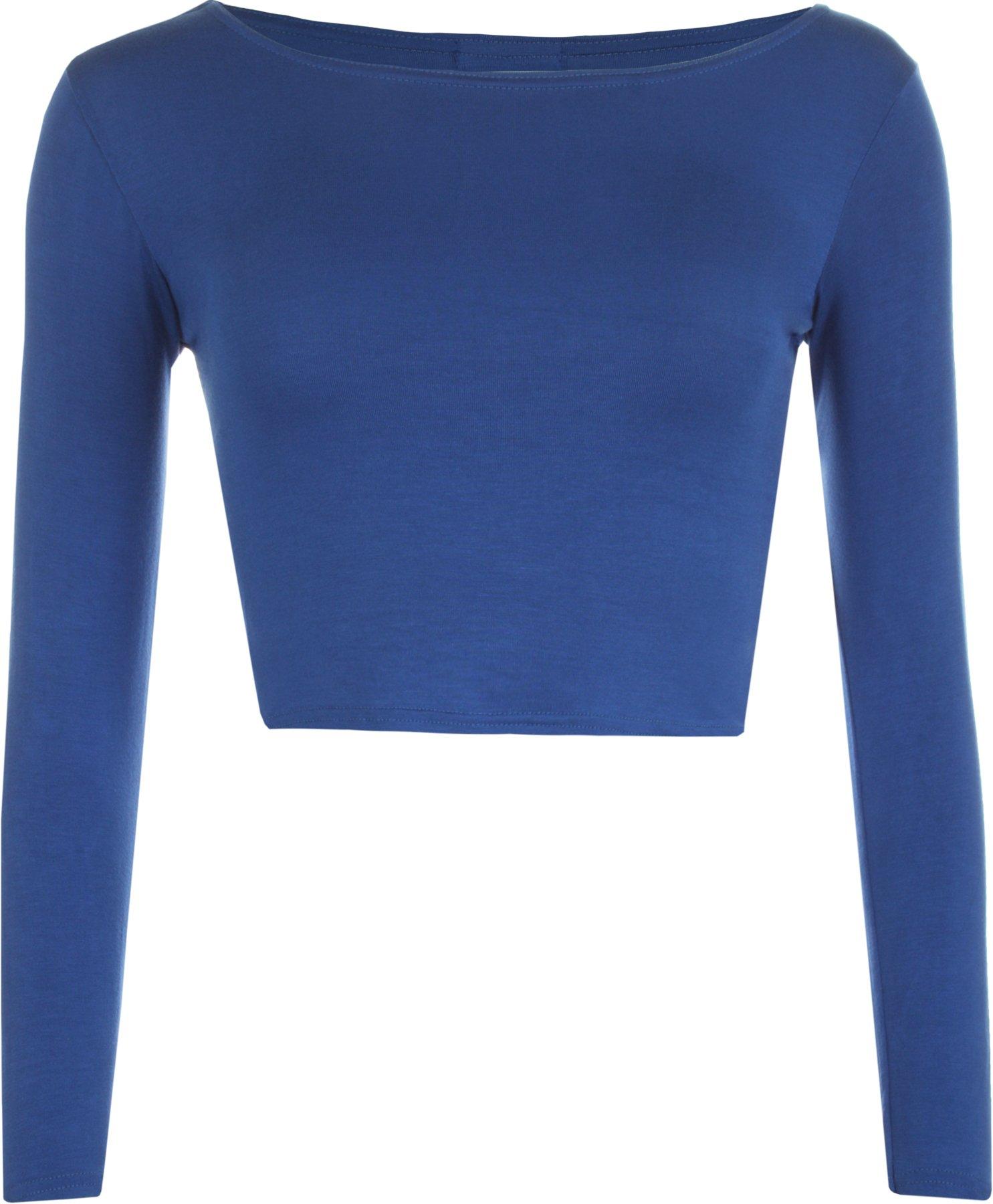 WearAll Women's Crop Long Sleeve Ladies Plain T-Shirt Top - Royal Blue - US 8-10 (UK 12-14)