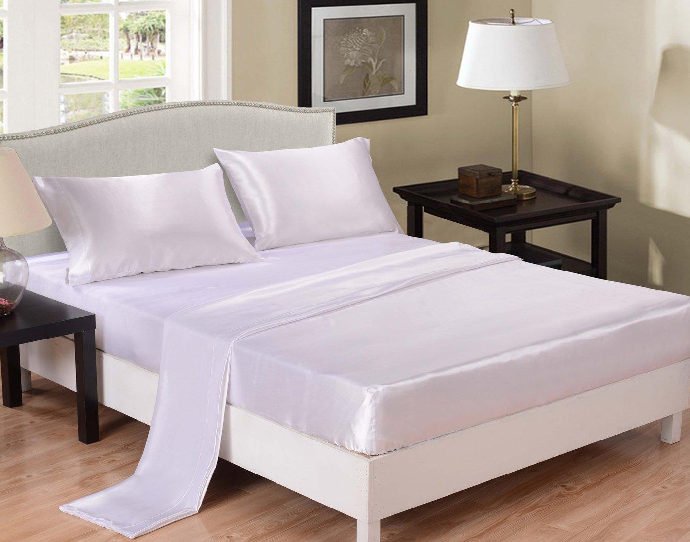 Amazon.com: Honeymoon Ultra Silky Soft Satin Queen Bed Sheet Set   White:  Home U0026 Kitchen