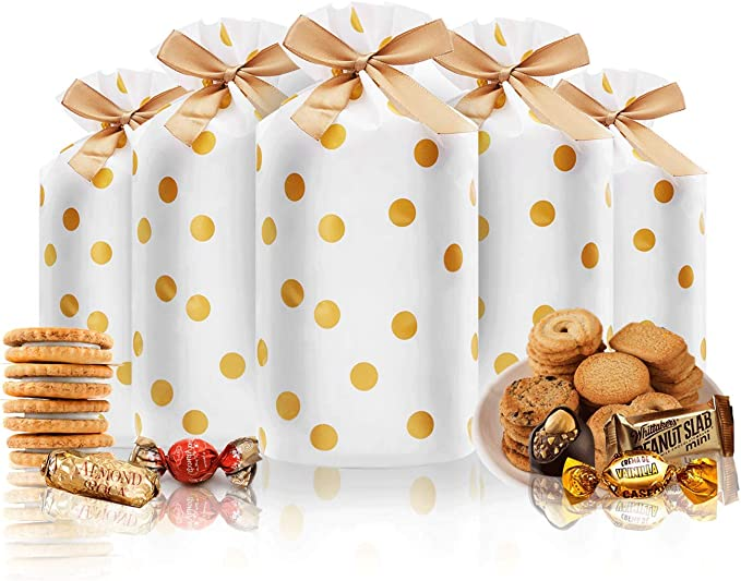 Details about  /24pcs Treat Bags Party Favor Bags Gold Plastic Drawstring Gift Bags Candy Goo...