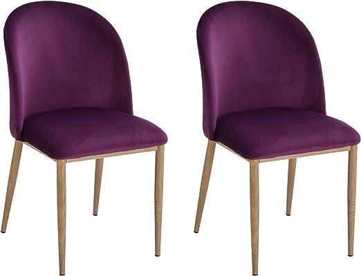 homcom Set 2 Sedie per Sala da Pranzo//Cucina//Soggiorno con Seduta Imbottita e Rivestimento in Velluto Viola 50 x 58 x 85cm
