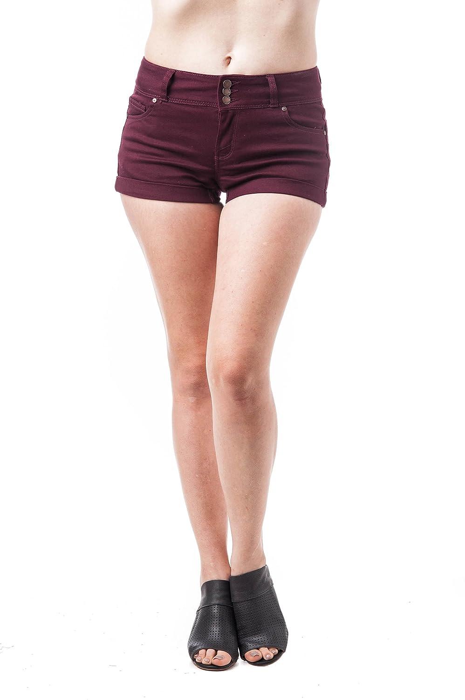 TALLA L. Khanomak Pantalones Cortos de Cintura Alta con puños de 3 Botones