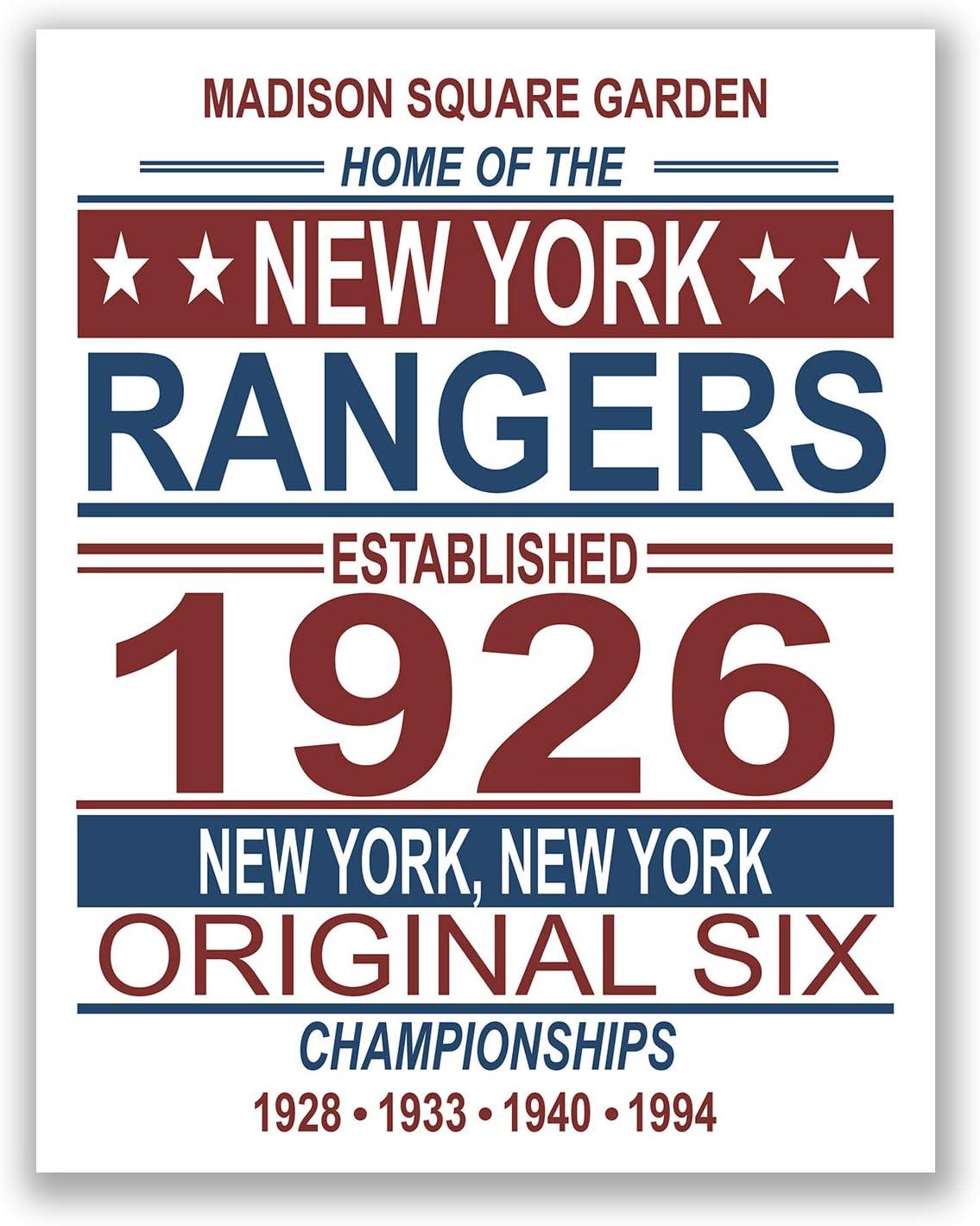 New York Rangers NHL Poster - Vintage Championship Team - 11x14 Matte Poster Print