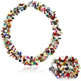 "17"" X 1"" Multi Color Stone Chips Necklace and 7"" Stretchy Bracelet Set"