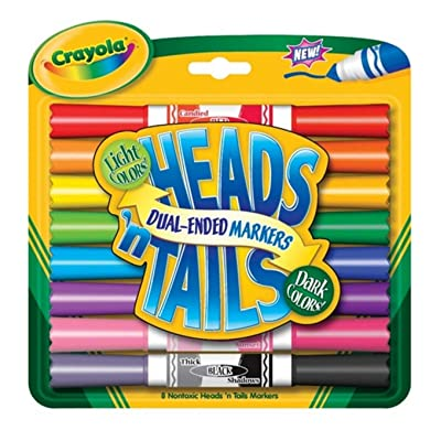 Crayola Heads 'n Tails Dual-Ended Markers 8/Pkg-Dark & Light Colors: Toys & Games